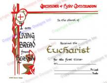 104 I am Living Bread from Heaven - Personalized Holy Communion Certificate