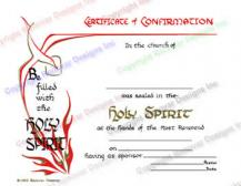 702 Holy Spirit - Confirmation Certificate