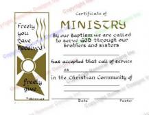 209 Freely You Have Received, Freely Give - Certificate of Minstry