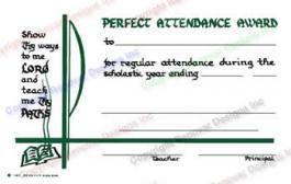 211 Perfect Attendance Award Certificate