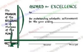 212 Award For Excellence Certificate