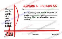 213 Award For Progress Certificate