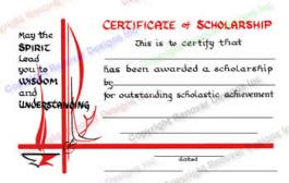 210 Certificate of Scholarship