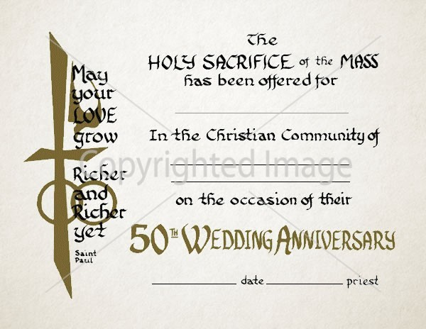 50th Wedding Anniversary Certificate Religious