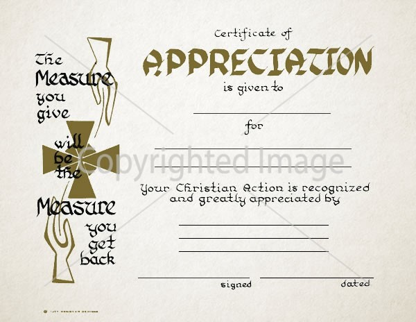 Appreciation Certificate Religious