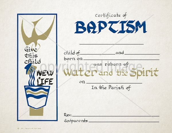 Baptism Certificate – Water and the Spirit