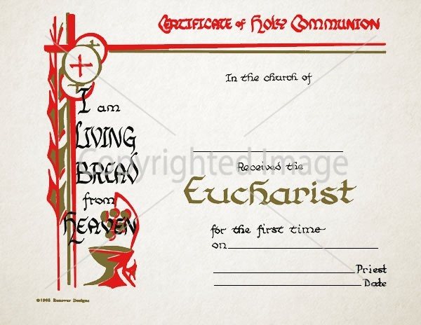 Holy Communion Eucharist Certificate – 104