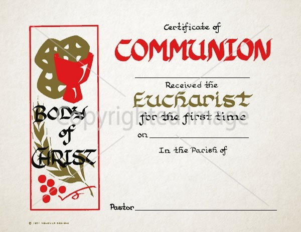 Holy Communion Eucharist Certificate – 108