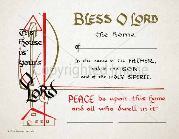 Home Blessing Religious Certificate