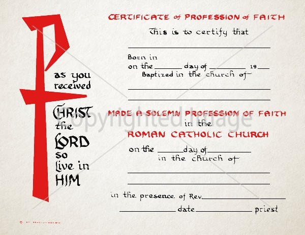 Profession of Faith Certificate