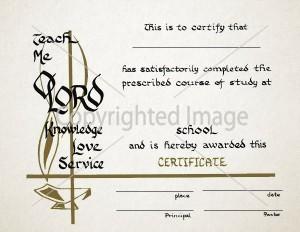 Religious Graduation Certificate