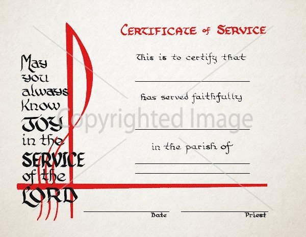 Religious Certificate of Service