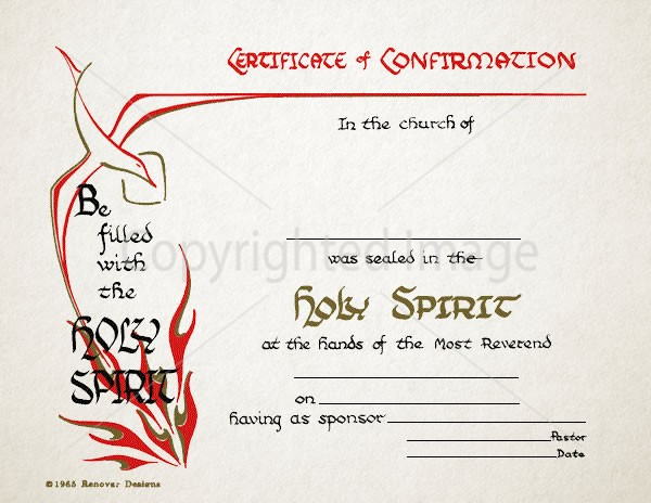 Confirmation Certificate – Holy Spirit