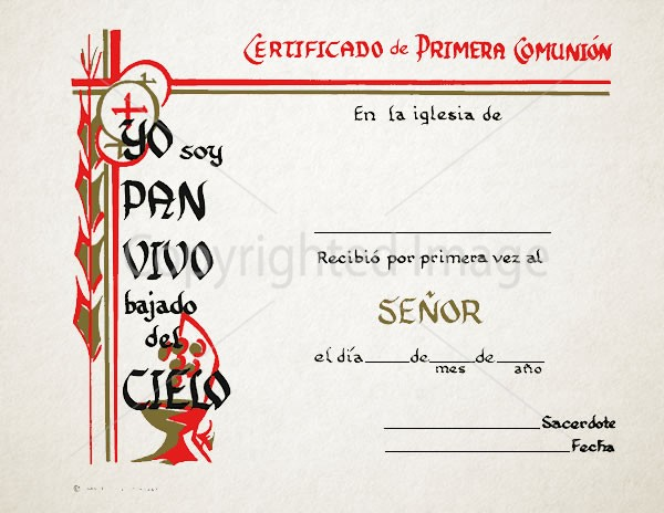 Personalized Spanish Communion Church Certificates