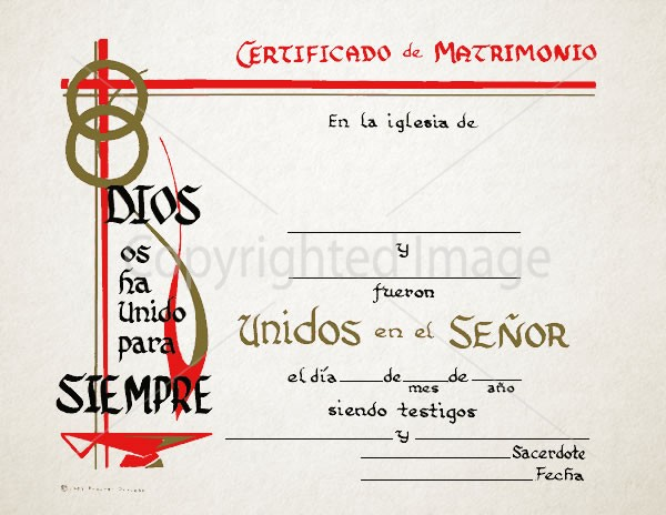 Personalized Spanish Marriage Certificate