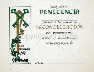 Personalized Spanish Penance Church Certificates