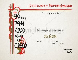 Spanish Communion Church Certificates