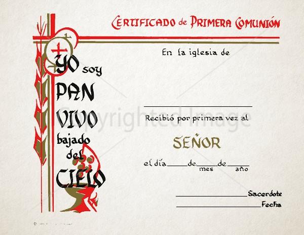 Spanish Communion Church Certificates