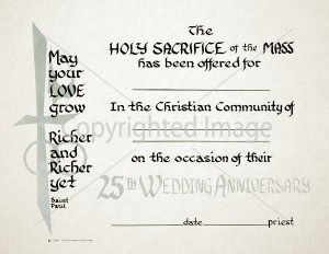 25th Anniversary Wedding Religious Certificate