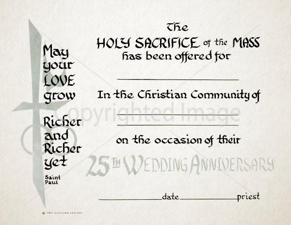 25th Anniversary Wedding Religious Certificate