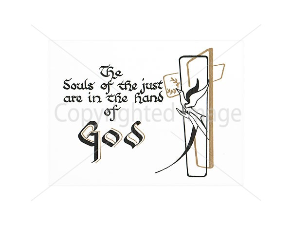 In the Hands of God White Mass Card for the Dead