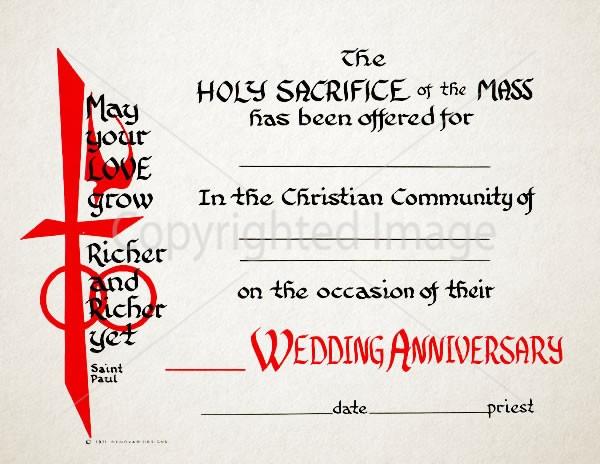 Mass Anniversary Wedding Certificate