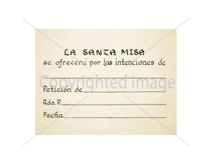 Pan de Vida Spanish Mass Card for the Living - inside