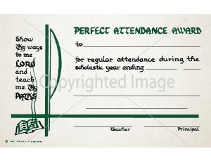 Perfect Attendance Award School Certificate