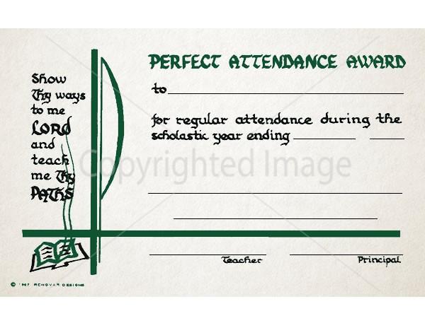 Perfect Attendance Award School Certificate