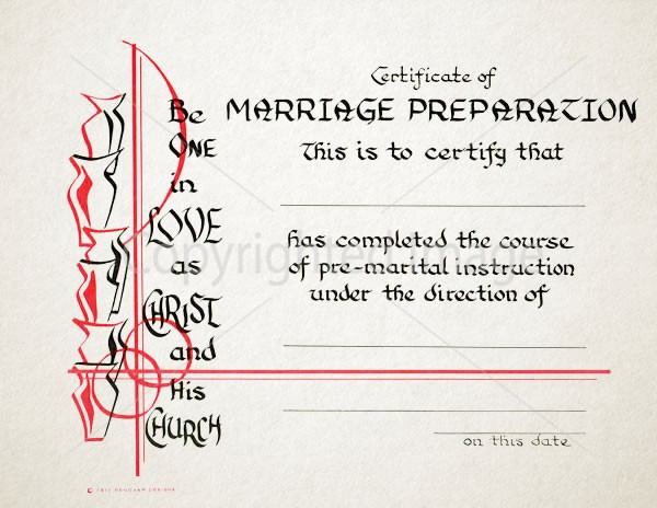 Personalized Marriage Preparation Certificate