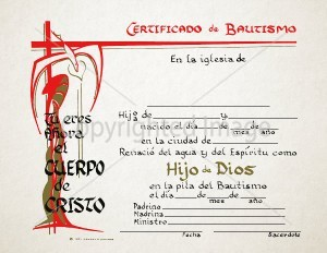 Personalized Spanish Baptism Certificates