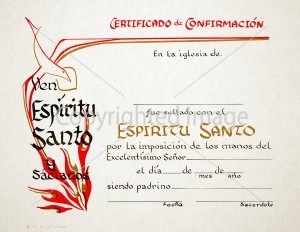 Personalized Spanish Confirmation Certificate