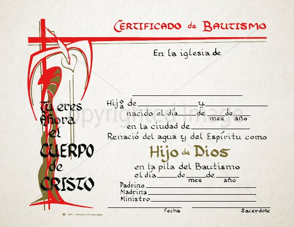 Spanish Baptism Certificates