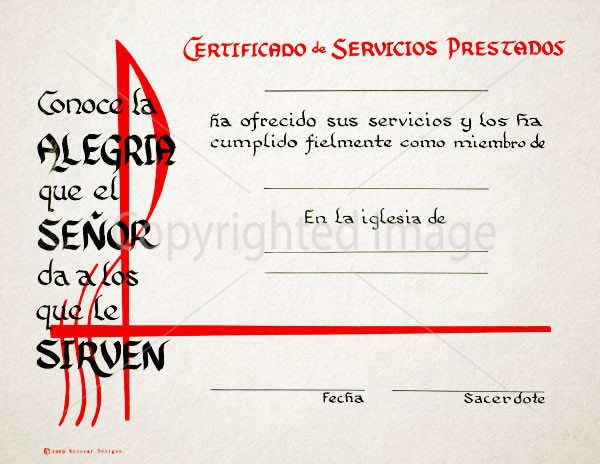 Spanish Certificate of Service