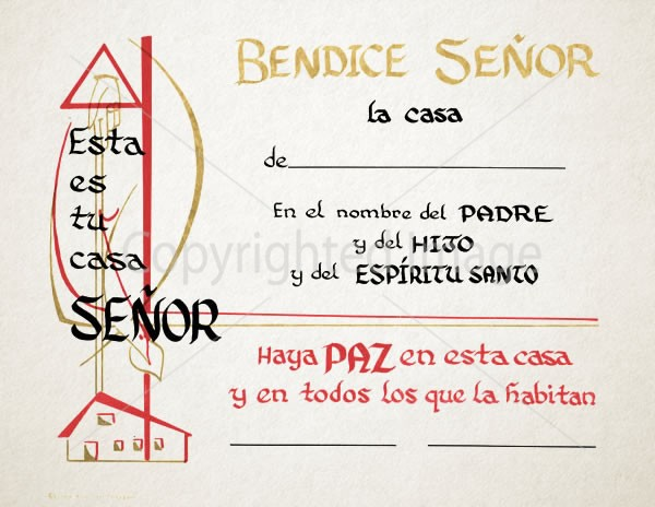 Spanish Home Blessing Certificate