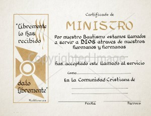 Spanish Ministry Certificate